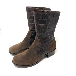Ugg Lou Croc Embossed Suede Trim Boots